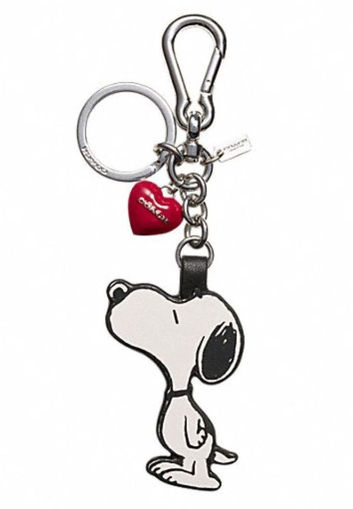f3416322a9 NEW COACH X PEANUTS LEATHER SNOOPY HEART BAG CHARM PURSE FOB KEY CHAIN RING  RARE  Coach