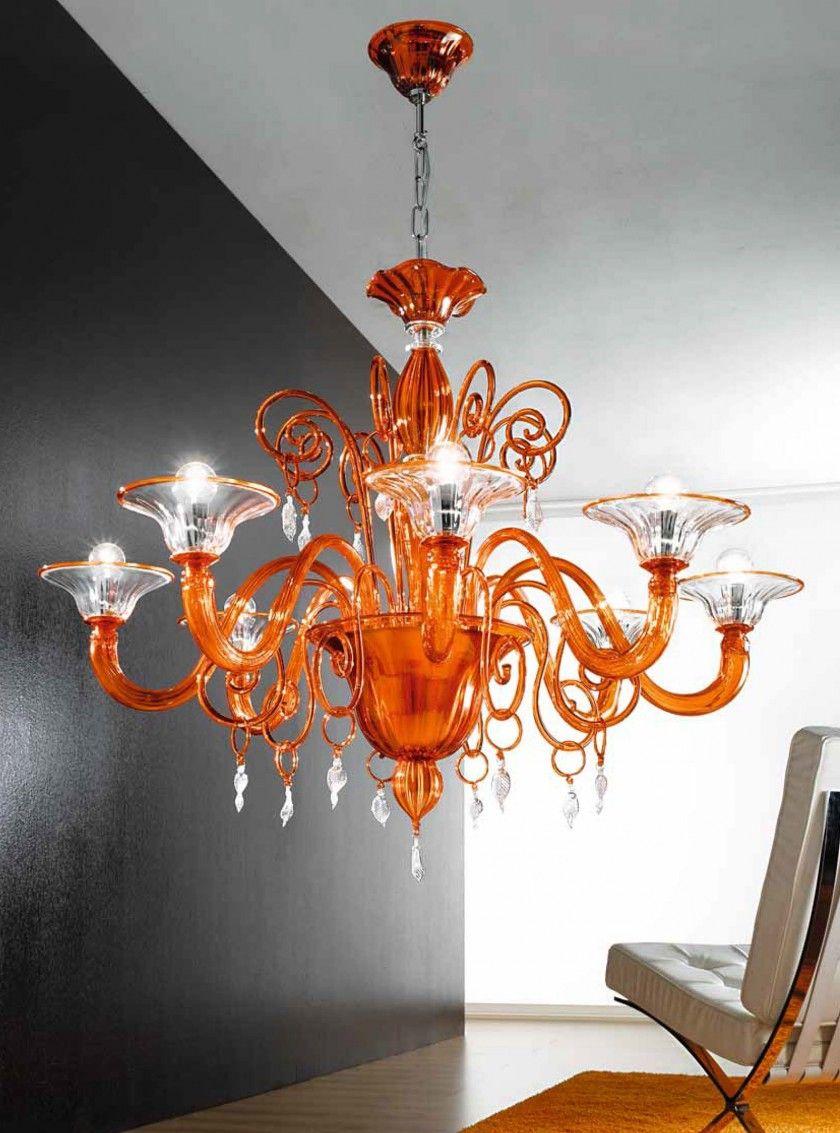 Orange And Clear Murano Glass Chandelier Mll972k8 Orange