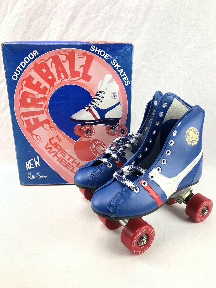 Vintage Fireball Roller Skates Roller Derby Youth Size 3 Blue Red White Nib 80s Fireball In 2020 Roller Skates Vintage White Roller Skates Roller Derby Skates