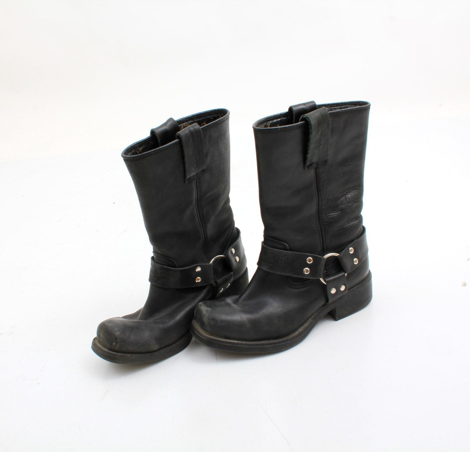 a645bdffac4 Vintage John West Black Real Leather Motorcyle Boots Size EU40 UK7 ...
