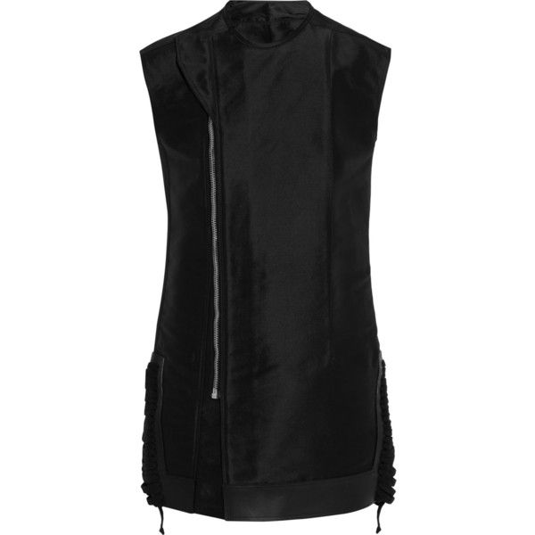 Rick Owens Silk-taffeta vest ($830) ❤ liked on Polyvore featuring outerwear, vests, black, rick owens vest, zip vest, slim fit vest, black waistcoat and black zip vest