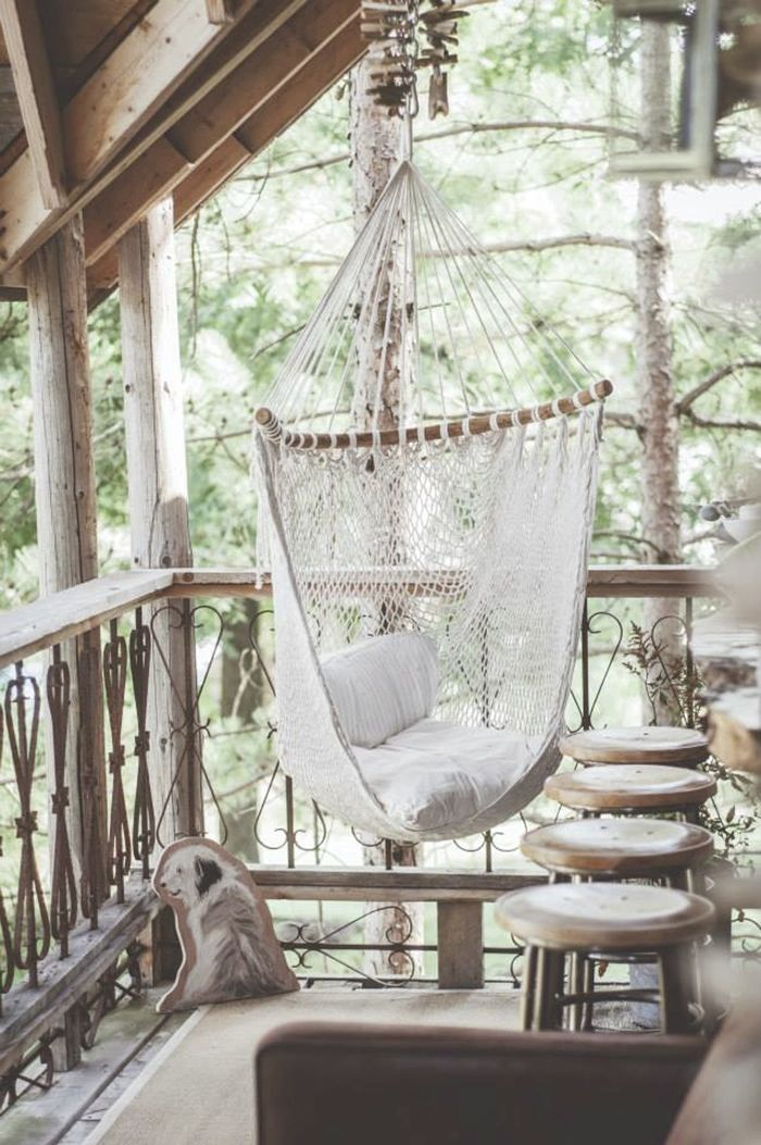 this could be good for the gazebo or somewhere else like the front porch if the diagonal hammock is too invasive  it could also be cute to have two hammocks     at home with lynne knowlton   hammock chair treehouse and beams  rh   pinterest