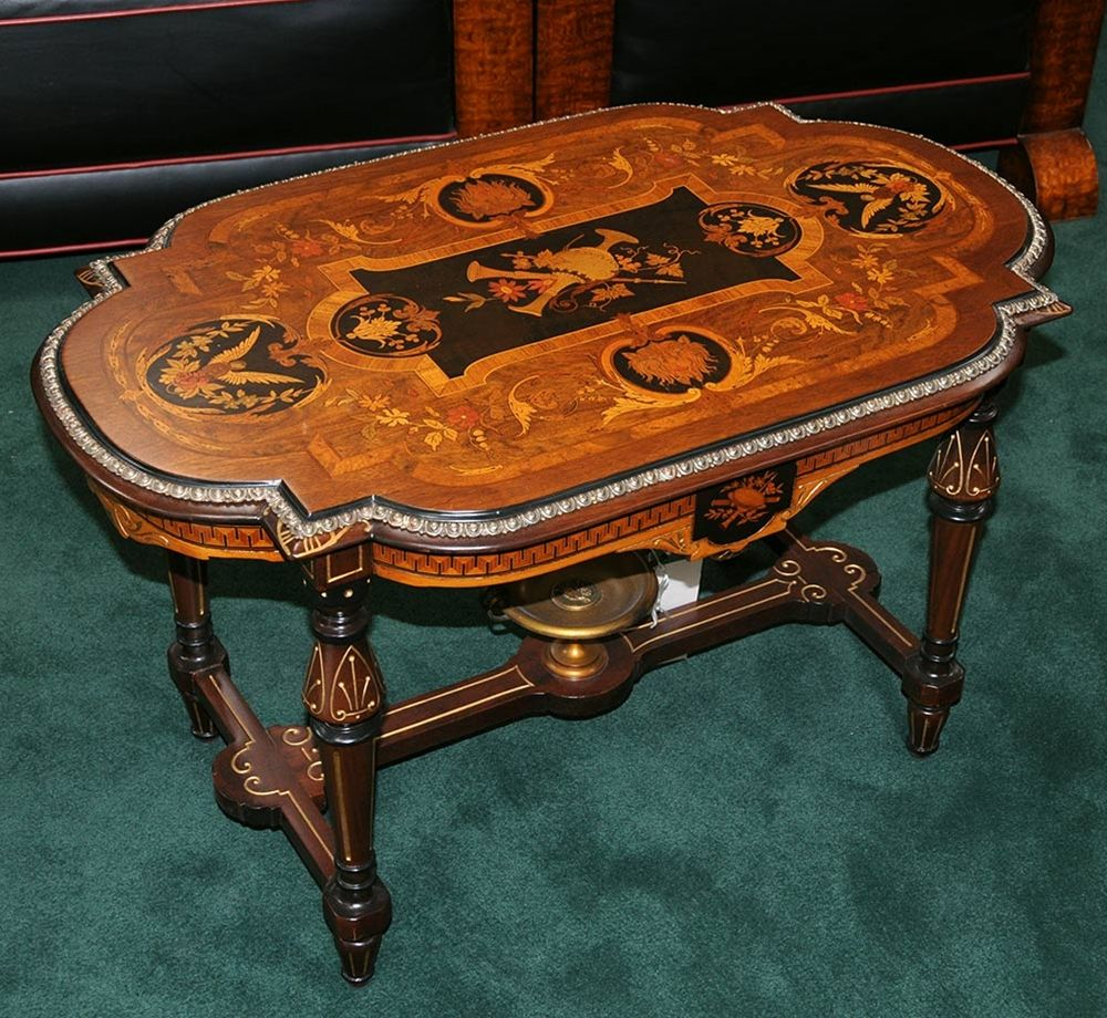Rare 19th C. Inlaid American Victorian Coffee Table For Sale .