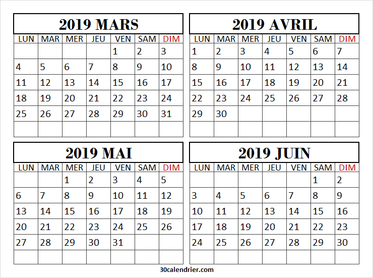 Calendrier Avril Mai Juin 2019.Calendrier Mensuel Mars A Juin 2019 A Imprimer Calendrier