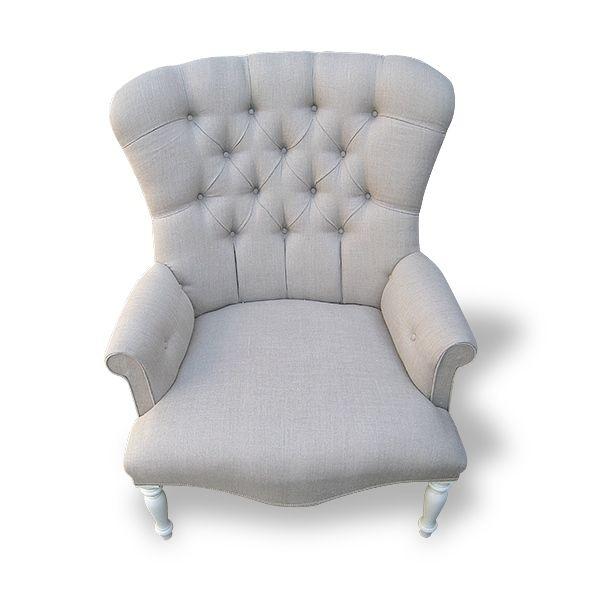 Elegant Large Linen Button Back Chair