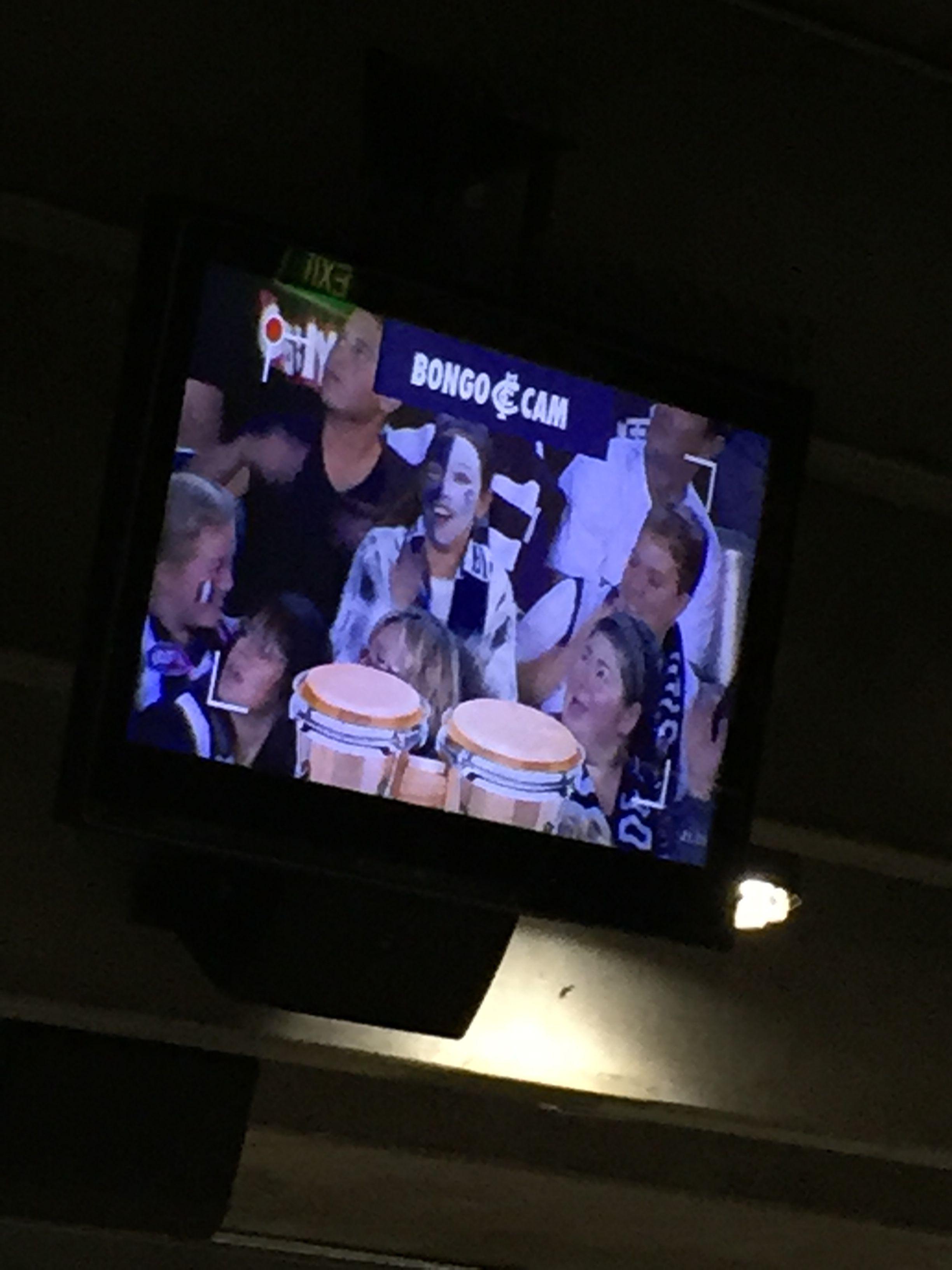 Bongo Cam - fans playing the bongos at Carlton AFL games