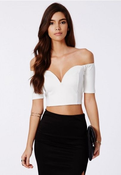 Billie Bardot Plunge Crop Top White - Tops - Shop by Category - Clothing 4c3700699