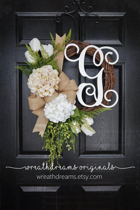 Tulips & Hydrangea Grapevine Wreath with Burlap. by WreathDreams