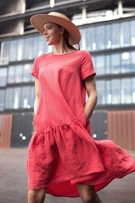 f1f7bd52aaeb Linen raspberry dress
