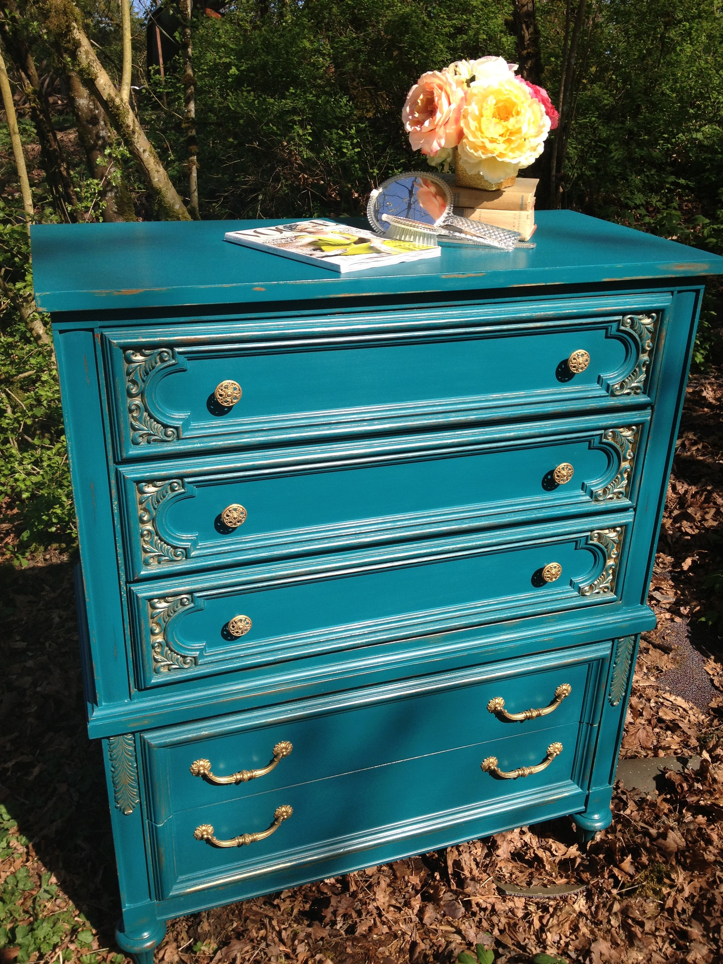 Peacock Blue with Gold accents. Vintage Broyhill Dresser