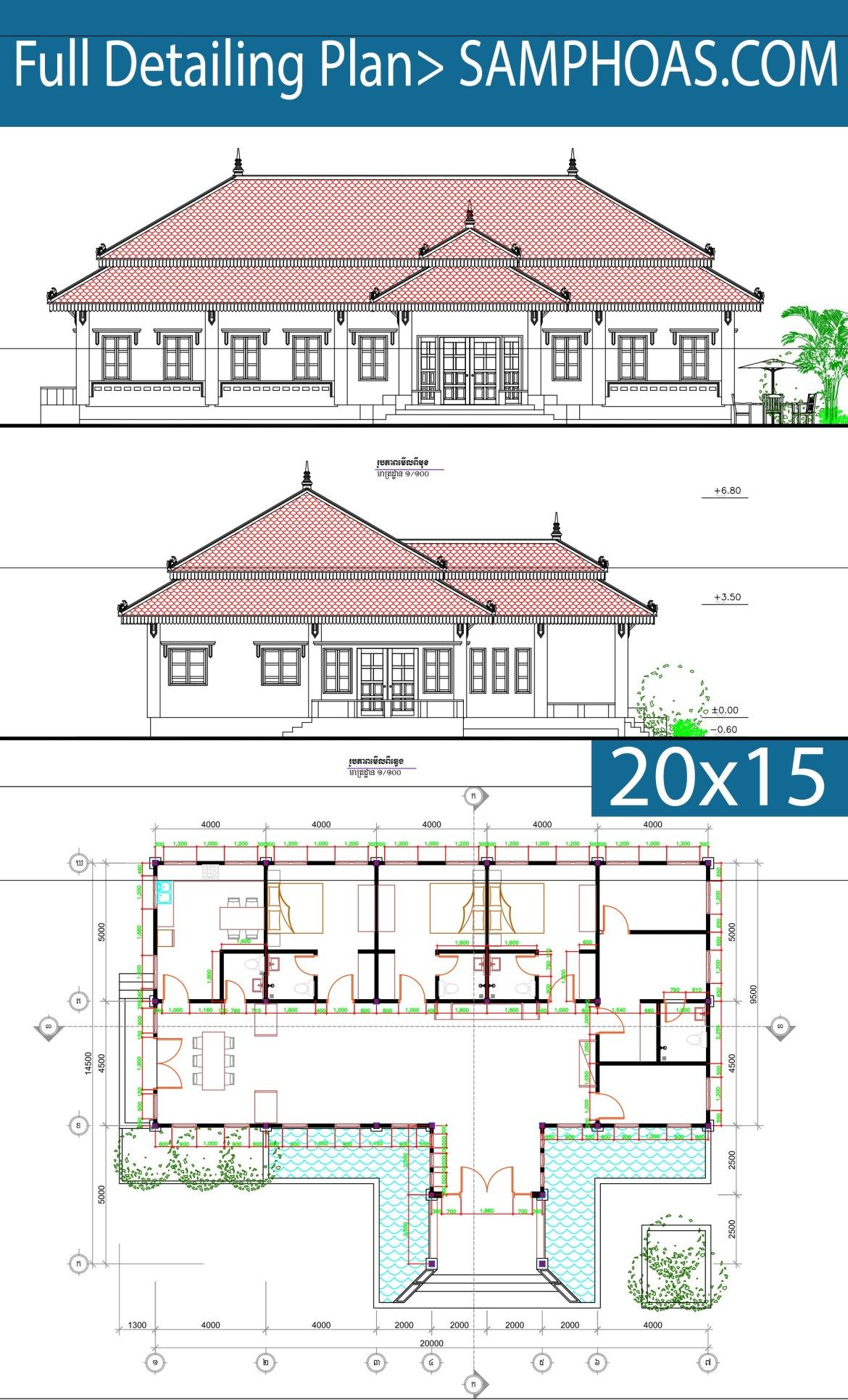 4 Bedrooms House Plan 20x14 5m Samphoas Plansearch Bungalow Floor Plans Bedroom House Plans 4 Bedroom House Plans