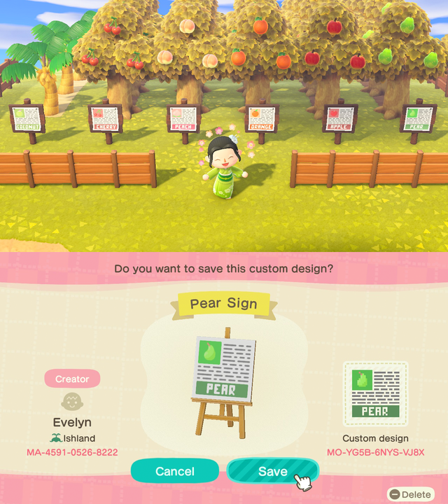Fruit Signs With Info For Your Orchard Includes One For Coconut Trees Animalcrossing Animal Crossing Fruit Animals Animal Crossing Villagers