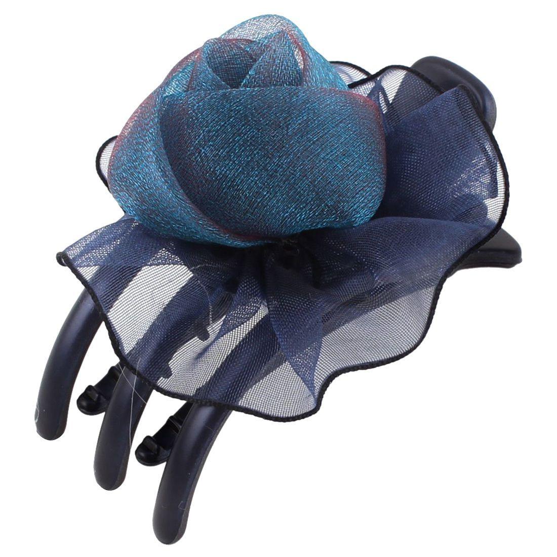 Best sale lady organza rose detail teeth side hair clip clamp