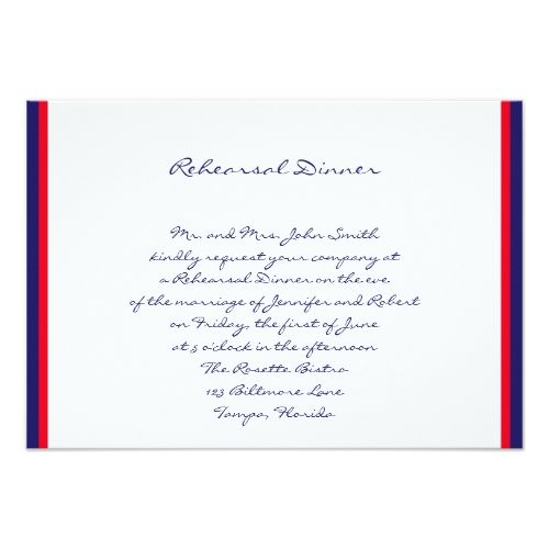 Nautical Wedding Rehearsal Red White and Blue Wedding Rehearsal Card