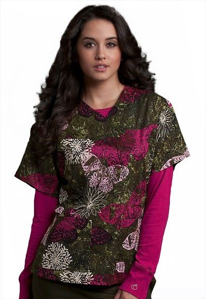 MedCouture by Peaches Flutter Effect print scrub top.