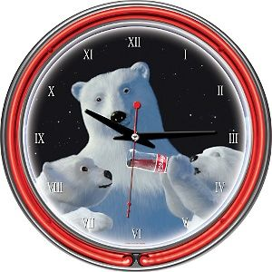 Coca-Cola Neon Clock - Polar Bear with Cubs at HSN.com.