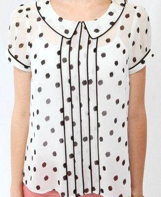 d65a30b93299 Collared Dot Blouse- love the dalmatian spots (in a non cruella de vil way)