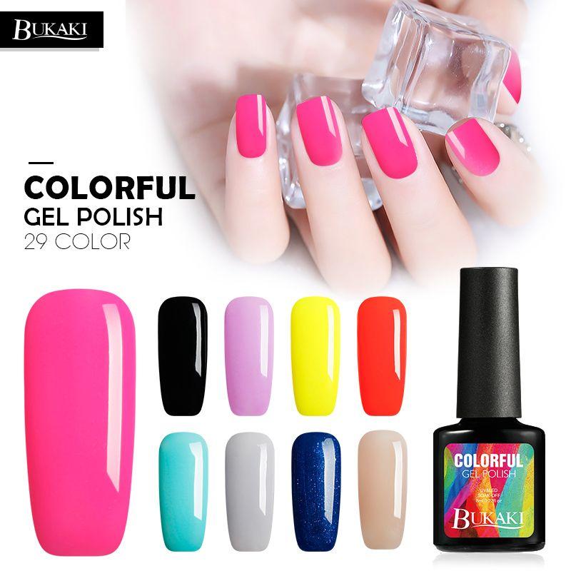 BUKAKI Pure New Design Lucky Colors UV Gel Nail Polish Shimmer Nail ...