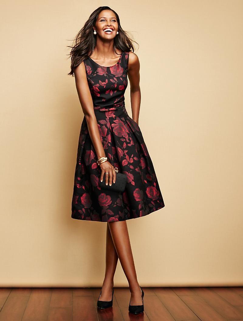 Rose Jacquard Fit And Flare Dress Mix Mingle Fit And Flare Dress Dresses Clothes For Women [ 1057 x 800 Pixel ]