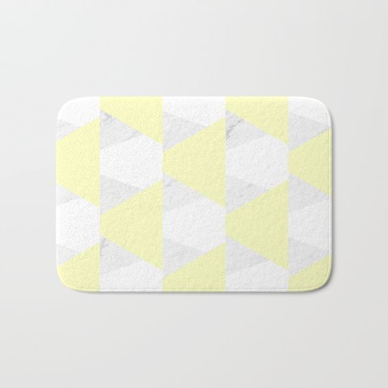 Yellow White Marble Triangles Bath Mat By Artbyjwp From Society6
