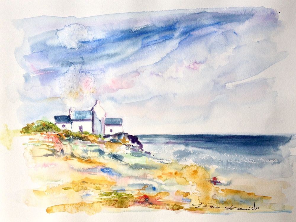Aquarelle Originale Damdomido Marine Bretagne Original Watercolor