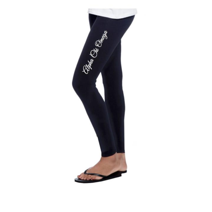 bb590184f4b70a Alpha Chi Omega leggings with beautiful Greek words down the thigh wear  with boots or flipflops.  alphachiomega  axo