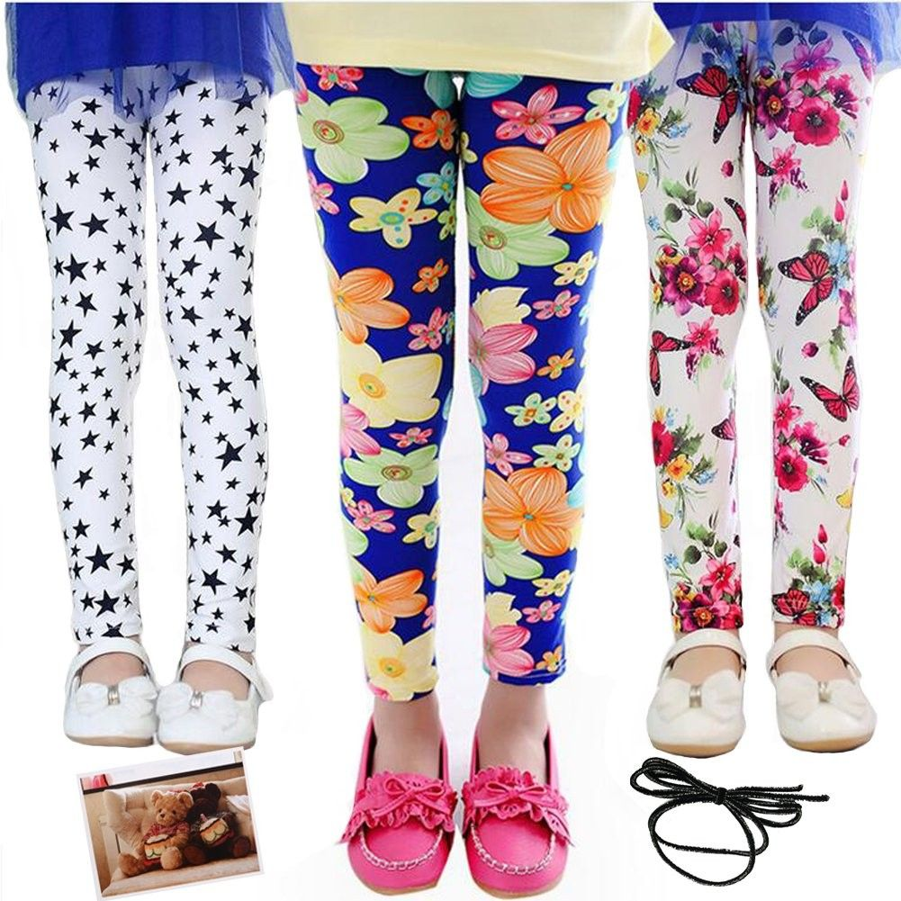 OULII Girls Leggings Toddler Girls Pants Great Stretch Kids Printing Flower Pants Suitable For 140CM Child