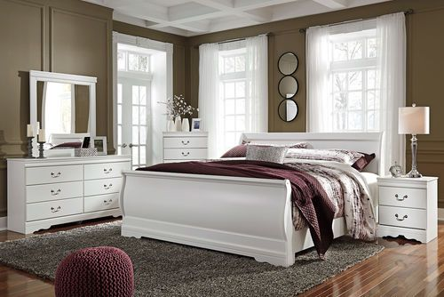 Best Anarasia White 5 Pc Dresser Mirror King Sleigh Bed 400 x 300