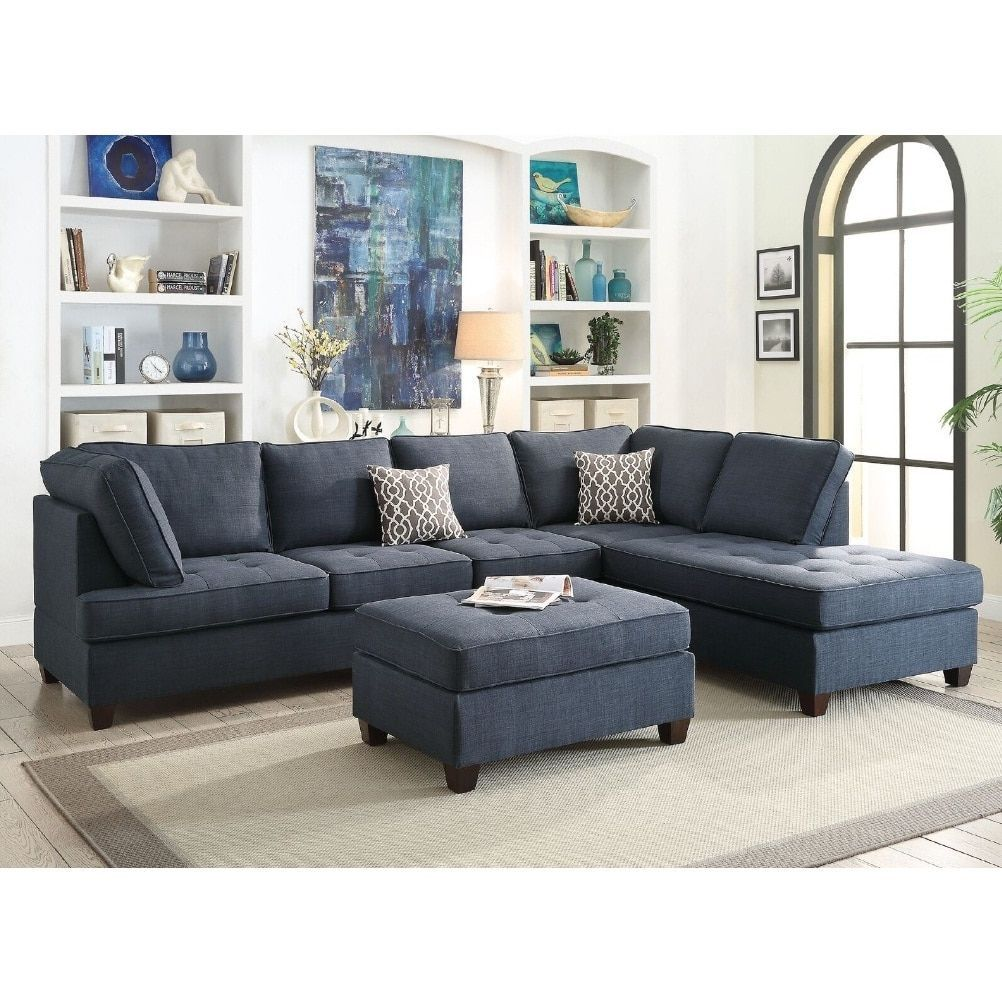 Naschiti 2 Pcs Sectional Sofa Set Blue Fabric Products