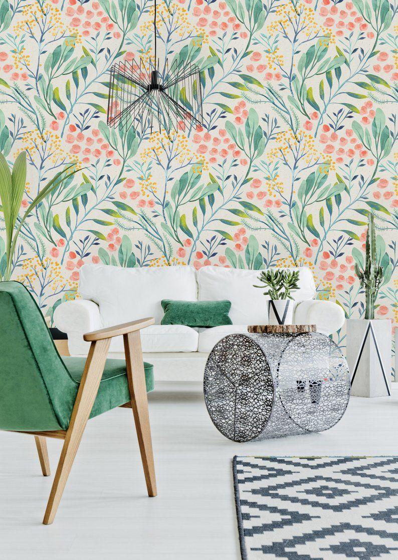 Removable Wallpaper Self Adhesive Wallpaper Watercolor Wild Etsy Removable Wallpaper Self Adhesive Wallpaper Wallpaper Panels