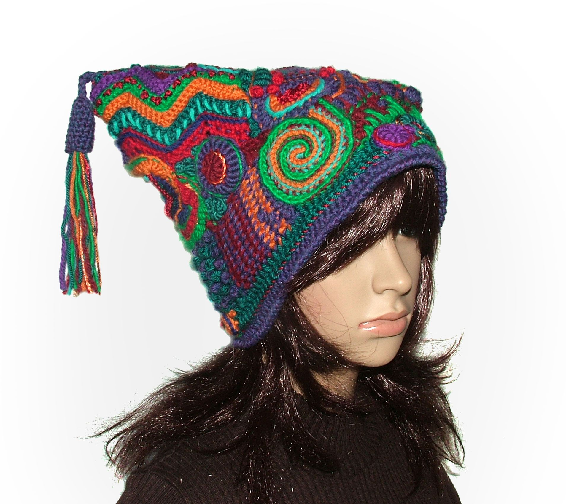 Freeform Crochet Jester Hat Beanie - oh I gotta get a pattern and try this  too!!! 17ecf485d32