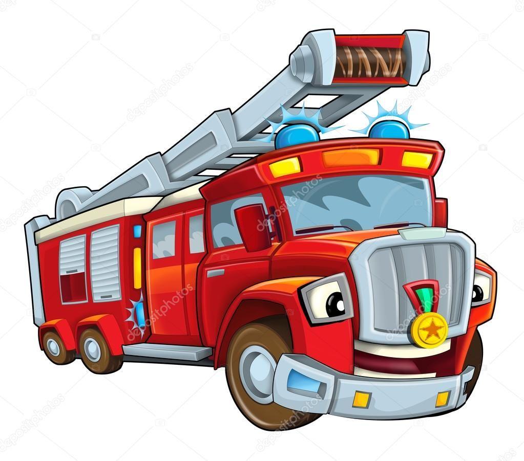 Camión de bomberos rojo de dibujos animados - ilustración para los ...