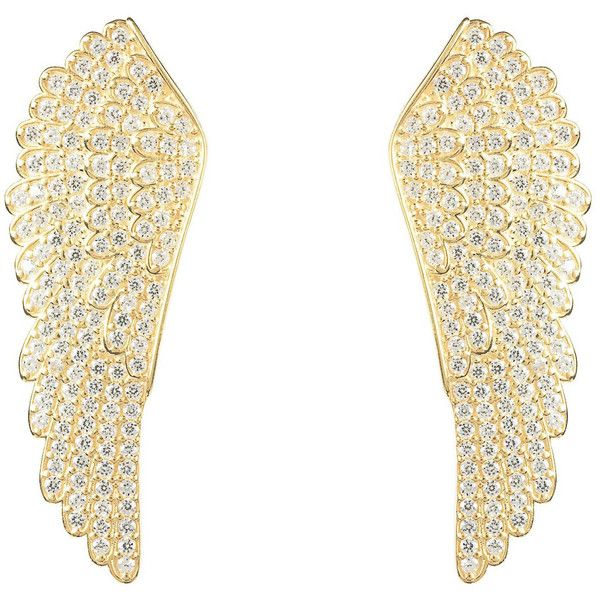 22ct Gold Vermeil Large Angel Wing Earrings (€120) ❤ liked on Polyvore featuring jewelry, earrings, vermeil jewelry, vermeil earrings, angel wing earrings, gold vermeil jewelry and gold vermeil earrings