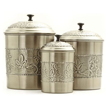 Found it at Wayfair - 3 Piece Victoria Canister Set in Pewterhttp://www.wayfair.com/daily-sales/p/Kitchen-Carts-%26-Islands-3-Piece-Victoria-Canister-Set-in-Pewter~OI1577~E12863.html?refid=SBP.rBAZEVNgJxplBFjgHCjjArK78AUhZUR3kh2Eg6UP-9g