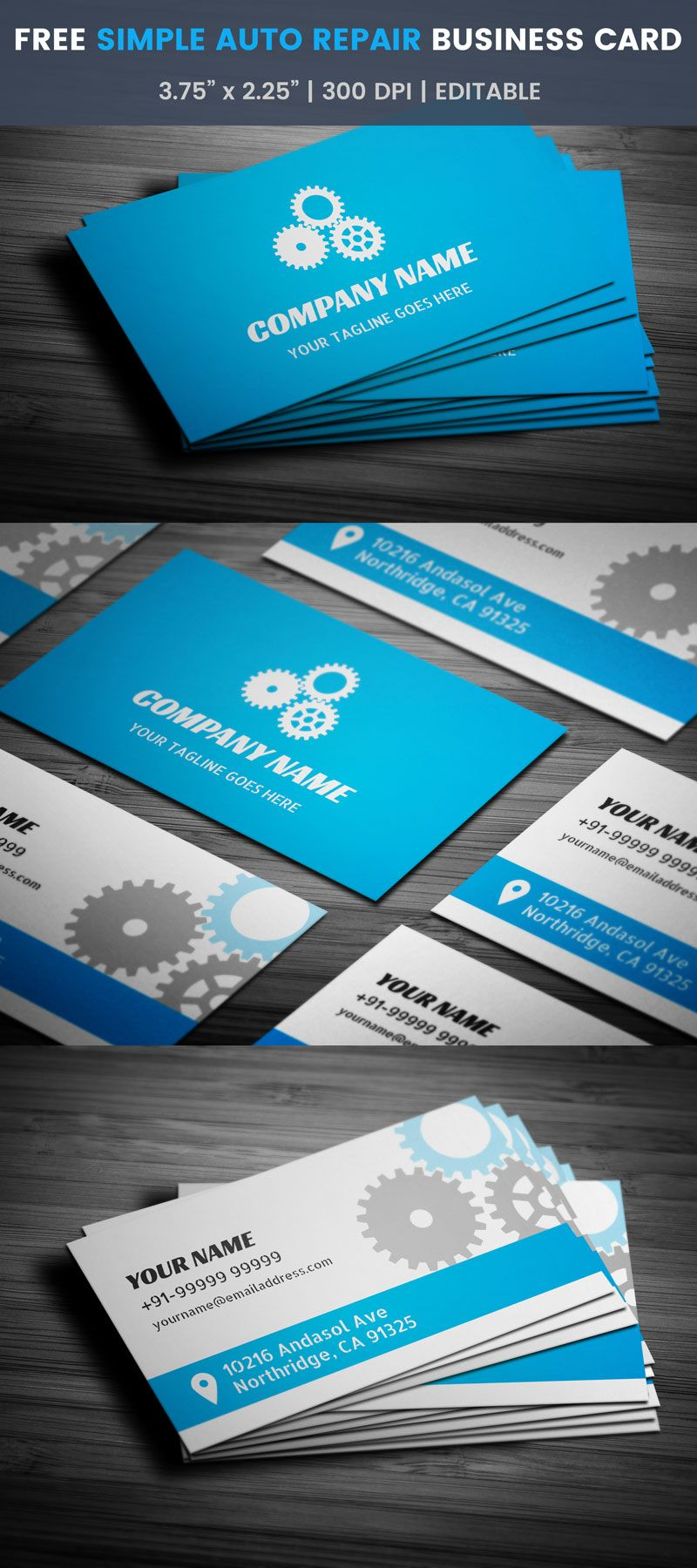Simple Auto Repair Business Card - Full Preview | Free Business Card ...