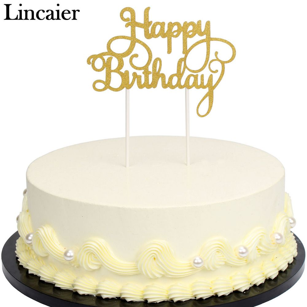 Cool Lincaier Gold Silver Glitter Paper Happy Birthday Cake Toppers Birthday Cards Printable Giouspongecafe Filternl