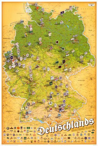 brauereien in deutschland karte Brauereikarte Deutschland Foto bei AllPosters.de | Deutschland