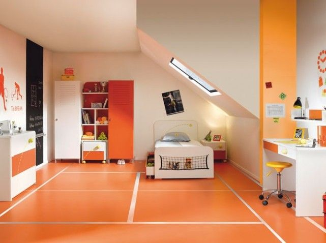 idée déco chambre garçon orange | Bedroom ideas | Pinterest