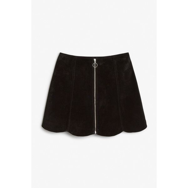 Monki Sonnie suede skirt ($32) ❤ liked on Polyvore featuring skirts, black magic, suede a line skirt, zipper mini skirt, a line mini skirt, suede skirt and scallop hem skirt
