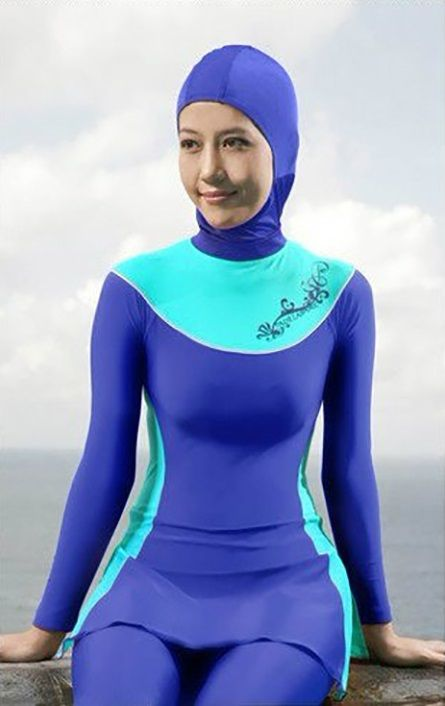 eda22b1d25 Summer Modesty Muslim Swimwear Swimsuit Full Cover Islamic Beachwear Burkini  -sky blue