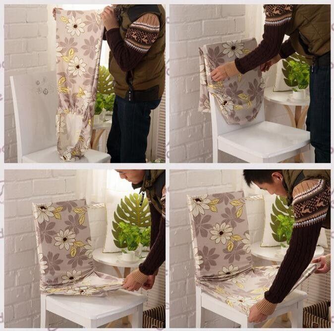 Salle manger polyester spandex chaise en tissu couvre for Housses de chaises en tissu