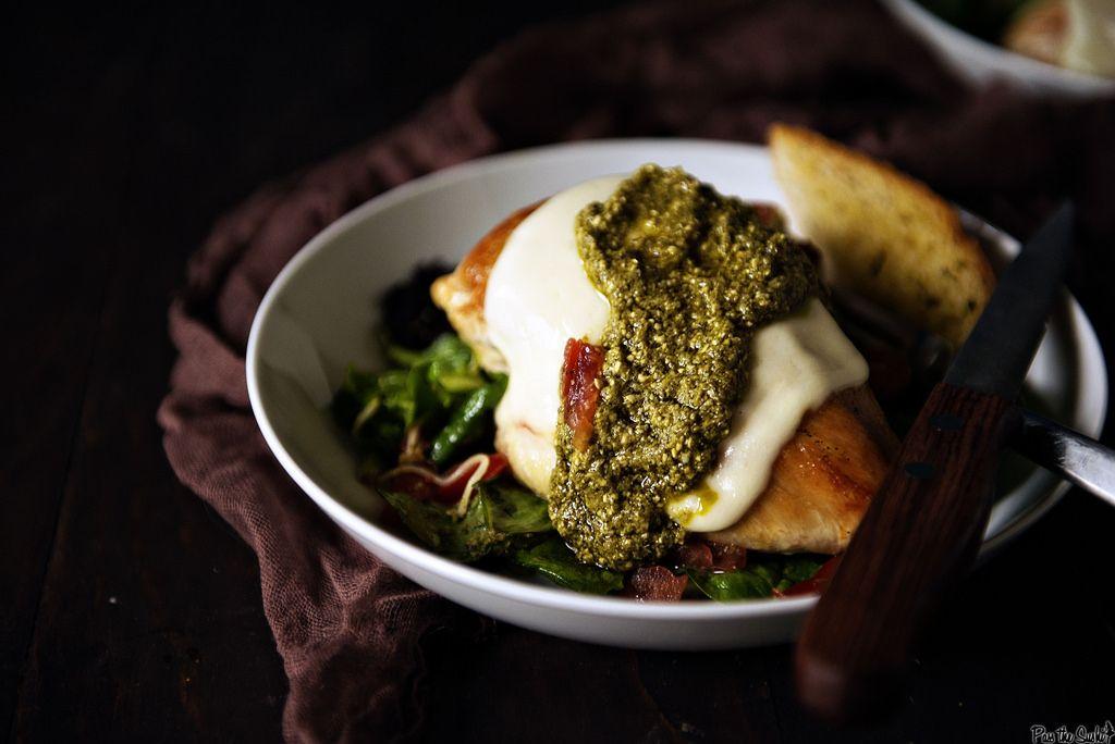 Skillet Mozzarella Chicken with Pesto || GirlCarnivore.com