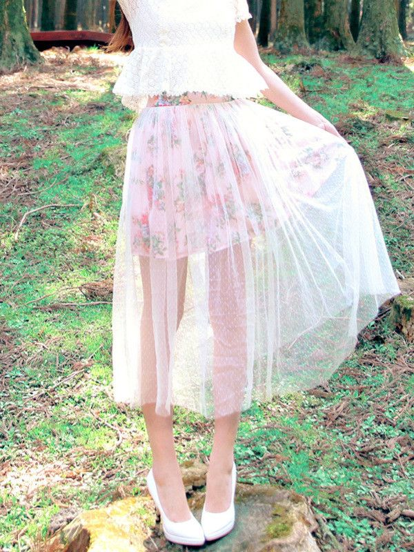 vintage garden sheer double-layered skirt #Spring outfit #summer outfit #semiformal