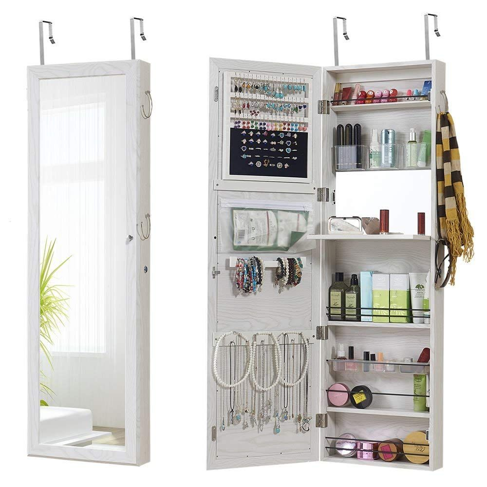 Amazon Com Jewelry Mirror Armoire Wall Mount Over The Door Mirror Jewelry Cabinet Storage Mirror O Mirrored Armoire Mirror Jewellery Cabinet Dorm Room Storage