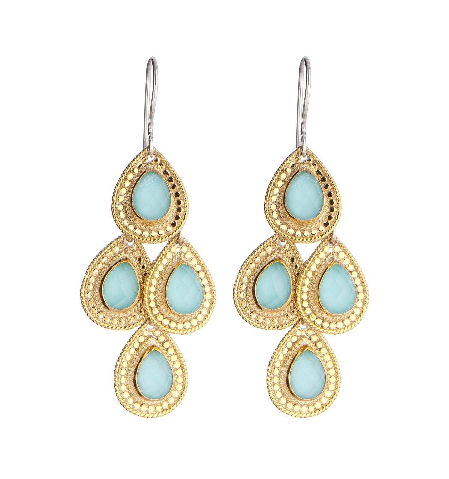 Anna Beck Gili Turquoise Chandelier Earrings - Gili Gold Plated ...