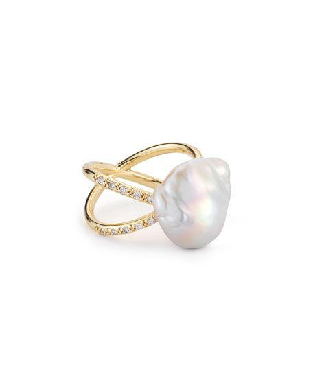 Mizuki Diamond & Pearl Split-Band Ring lxomW