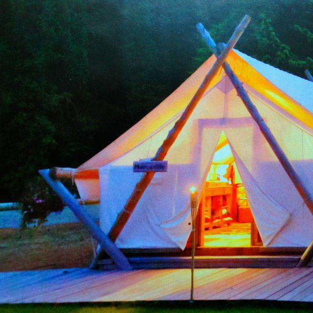 Cosy semi permanent garden tent outdoors pinterest for Permanent tent cabins