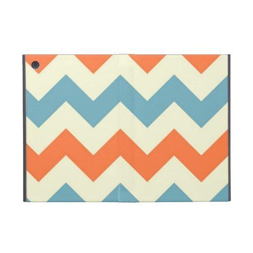 Black And Bluegradient: Pastel Blue And Orange Chevron Stripes Zig Zags IPad Mini