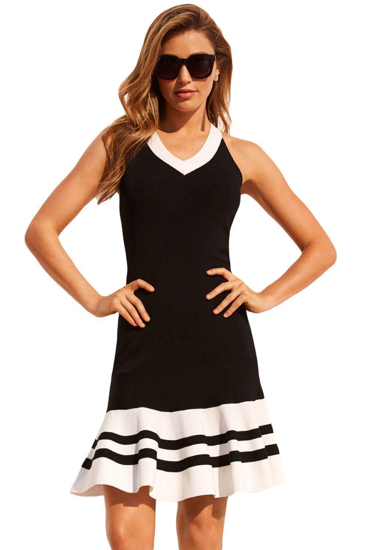Black White Cute Ruffle Hem Mini Dress Size (US 4-6)S by VictoryRoze ...