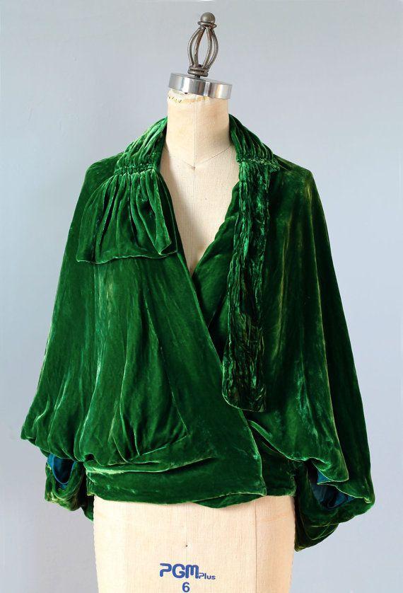 AMAZING 1920s Emerald Green Silk Velvet by ...